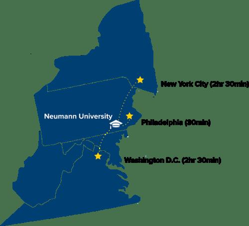 Map showing Neumann University proximity to DC New York City and Philadelphia